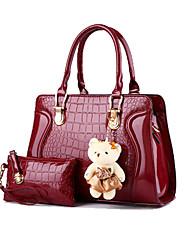 Damen Taschen Ganzjährig Lackleder Bag Set 2 Stück Geldbörse Set für Formal Rosa Wein Khaki Lila Lavendel
