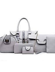 preiswerte -Damen Taschen PU Bag Set 6 Stück Geldbörse Set für Hochzeit Veranstaltung / Fest Normal Formal Büro & Karriere Ganzjährig Schwarz Rote