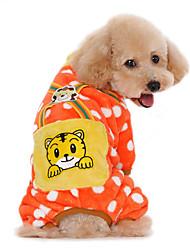 Cat Dog Clothes/Jumpsuit Pajamas Dog Clothes Winter Spring/Fall Cartoon Cute Casual/Daily Keep Warm Orange Dark Blue Yellow Pink