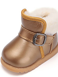 Girls' Baby Shoes Cowhide Boots For Casual Gold Yellow Red