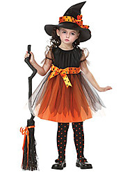 Witch Cosplay Costume Party Costume Masquerade Movie Cosplay Orange Dress Cap Halloween New Year Children's Day Polyester