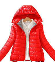 cheap -Women's Regular Padded Coat,Casual Daily Solid-Polyester Polyester Long Sleeves Hooded