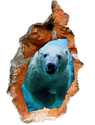cheap -3D Wall Stickers Polar Bear Hole PVC Material Decorative Skin Wall Stickers
