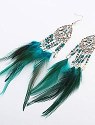 cheap -Women Fashion Bohemian Beaded Feather Tassel Droplets Drop Earrings