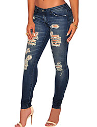 cheap -Women's  Fashion Dark Sandblast Wash Denim Destroyed Skinny Jeans