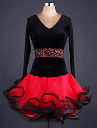 Latin Dance Dresses Performance Spandex Organza Cascading Ruffle Sash/Ribbon 2 Pieces Long Sleeve High Dress Belt