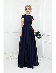 cheap -Ball Gown Jewel Neck Floor Length Chiffon Lace Bridesmaid Dress with Bow(s) Lace by LAN TING BRIDE®