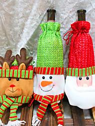 Недорогие -3шт бутылка вина покрывает сетов Рождественская вечеринка шапка Санта-Клауса одежду для бутылки подарок Xmas красный новый год украшения