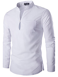 cheap -Men's Casual Chinoiserie Cotton Slim Shirt - Solid Colored Stand