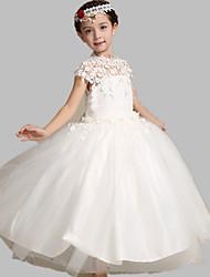 Ball Gown Tea Length Flower Girl Dress - Tulle Short Sleeves Jewel Neck by Lovelybees
