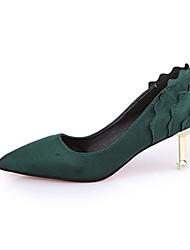 Women's Heels Novelty Suede Fall Casual Walking Novelty Ruched Stiletto Heel Black Green 2in-2 3/4in