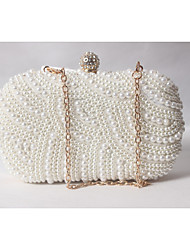 cheap -Women's Bags Satin Evening Bag Beading / Pearl / Imitation Pearl White-Beige-Red