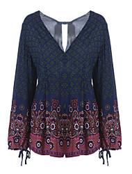 billige -Dame I-byen-tøj Simple / Vintage Bomuld Skede Kjole - Trykt mønster Over knæet V-hals
