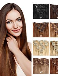 billiga -Febay Klämma in Människohår förlängningar Rak Remy-hår Äkta hår Mellanbrun / Rödlätt Svart / Blekt Blond Guld Brun / Blekt Blont
