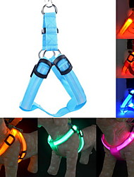 cheap -Dog Harness Leash Training Safety Lights Lighting Leash LED Lights Adjustable / Retractable Solid Nylon Yellow Green Blue Pink Dark Red