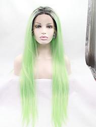 economico -Parrucche Lace Front Sintetiche Liscio Capelli sintetici Verde Parrucca Per donna Lace frontale Verde