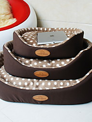 Cat Dog Bed Pet Mats & Pads Polka Dots Soft Brown Ruby
