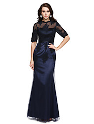 Mermaid / Trumpet High Neck Floor Length Tulle Stretch Satin Formal Evening Dress with Appliques Sash / Ribbon by TS Couture®