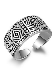 cheap -Fine 925 Vintage Silver Midi Knuckle Band  Open Adjustable Ring for Women Men