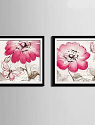E-HOME® Framed Canvas Art, Pink Flowers And Butterflies Framed Canvas Print Set Of 2
