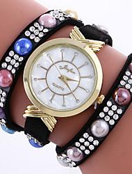 abordables -Femme Bracelet de Montre Montre Tendance Quartz Strass / Cuir Bande Charme Bohème A Perles Rigide Noir Blanc Rouge Rose Rouge Rose