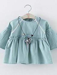 abordables -bébé Robe Fille de Quotidien Couleur Pleine Coton Printemps Automne Manches Longues Vert Rose