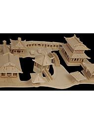Quebra-cabeças Quebra-Cabeças de Madeira Blocos de construção DIY Brinquedos Arquitetura chinesa 1 Madeira Ivory