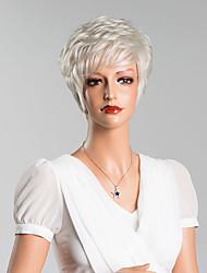 abordables -sin tapa nueva plata de la llegada corto ondulado peluca de cabello humano de alta calidad
