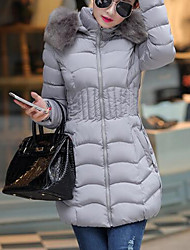 cheap -Women's Long Padded CoatSimple Daily Solid-Faux Fur / Polyester White  Long Sleeve Hooded Outerwear