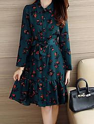Women's Boho Ruffle Plus Size / Going out Street chic Loose DressPrint Shirt Collar Asymmetrical Long Sleeve Blue / Green