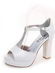 Da donna-Sandali-Matrimonio Serata e festa Formale Casual-Comoda-Quadrato Heel di blocco-PU (Poliuretano)-Bianco Argento