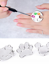 cheap -Cute Nail Art Metal Finger Ring Palette Mixing Acrylic Gel Polish Painting Drawing Color Paint Dish Manicure Tools