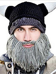 cheap -Men Winter Halloween Personalized Tassel Sharp Corners Horns Beard Hand Knitting Wool Warm Hat