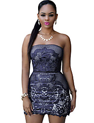 Women's Dark Blue Strapless Mesh And Placed Lace Mini Dress