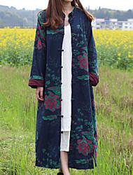 Feminino Casaco Dia a Dia Encontro Elegante & Luxuoso Outono Inverno,Floral Longo N/D Colarinho Chinês Manga Longa Bordado