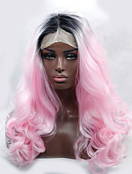 2016 Hot Sale Two Color Heat Resistant Synthetic Wig Curl Black To Pink Ombre Synthetic Lace Front Wigs for Women