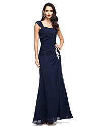 cheap -A-Line Straps Floor Length Chiffon Mother of the Bride Dress with Appliques Side Draping by LAN TING BRIDE®