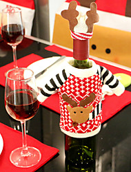 cheap -2pcs Wine Bottle Covers Sets Christmas Party Santa Claus Cap clothes for Bottle Xmas Gift Red New Year Home Decoration