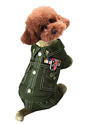 preiswerte -Hund Kostüme Overall Hundekleidung Cosplay Modisch Polizei / Militär Kaffee Rot Grün Blau