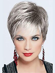 cheap -Women's Human Hair Capless Wigs Straight Side Part Dark Roots Layered Haircut Pixie Cut With Bangs Short Dark Black Grey Beige