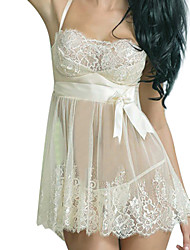 cheap -Women's Lace Lingerie Chemises & Gowns Babydoll & Slips Nightwear Solid-Thin Spandex Lace Core Spun Yarn White