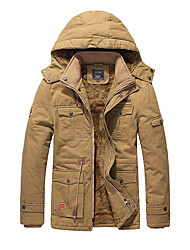 cheap -Men's Chic & Modern Parka-Solid Color,Modern Style Hooded