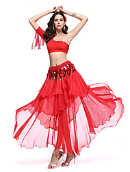 cheap -Belly Dance Outfits Women's Performance Polyester Spandex Ruffles Top Skirt Waist Belt