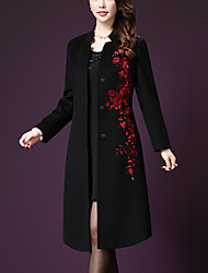 Women's Plus Size / Casual/Daily Simple Coat,Embroidered Stand Long Sleeve Fall / Winter Red / Black Polyester Thick
