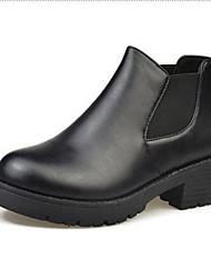 Žene Cipele Umjetna koža Zima Jesen Modne čizme Čizme Kockasta potpetica Okrugli Toe Patent-zatvarač za Kauzalni Formalne prilike Crn Pink
