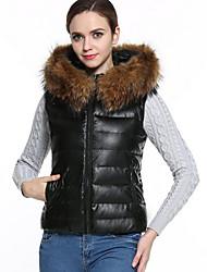 preiswerte -Damen Gefüttert Mantel,Standard Einfach Lässig/Alltäglich / Übergröße Solide-PU Polypropylen Ärmellos Schwarz Mit Kapuze