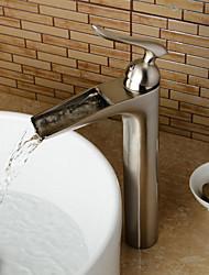 economico -Lavandino rubinetto del bagno - Saliscendi / Separato / Ruotabile Nickel spazzolato Installazione centrale Una manopola Due fori