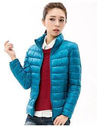 baratos -Mulheres Casual Moda de Rua Longo Penas de Pato Branco Duvet Sólido Colarinho Chinês / Inverno