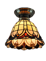 cheap -8 inch Retro Tiffany Ceiling Lamp Glass Shade Flush Mount Living Room Bedroom Dining Room Kids Room light Fixture
