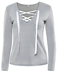 cheap -Women's Lace up Daily Sexy All Seasons T-shirtSolid Round Neck Long Sleeve Blue / Pink / Black / Gray /